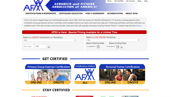 AFAA Personal Trainer Certification Group Exercise Certification Aerobics Certification