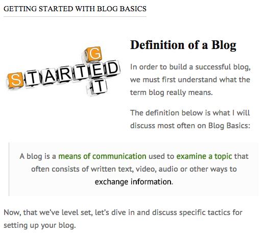 Blog Basics Content Area